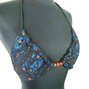 Affliction Bikini Top Only Blue Lace Reversible